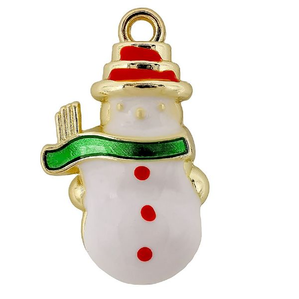 Snowman Gold Plated White, Enamel Green Scarf Red Hat 14x22mm